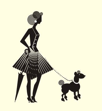 Lady in dress formed vertical folds with dog. Vector drawing with lady with dress formed vertical folds with umbrella and a fun dog on a leash.