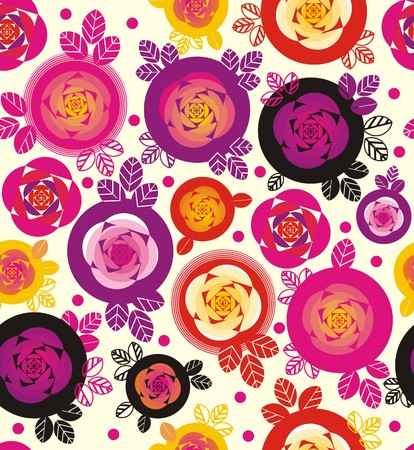 Rose and leaves inside circles in pink, yellow, red, purple, and black a seamless pattern on a white background.