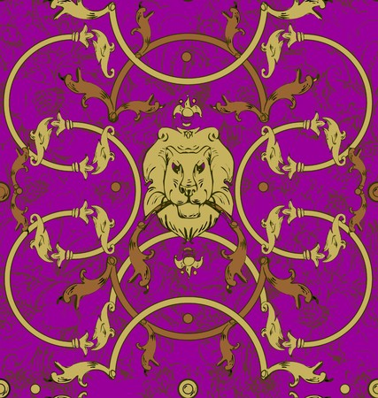 Decorative lattice with a lion in classic style in gray, gold a seamless pattern on a purple background.