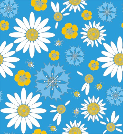 Wildflowers cornflowers and chamomile with ladybug in white, yellow, blue and gray a seamless pattern on a blue background.
