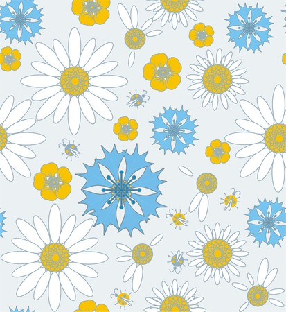 Wildflowers cornflowers and chamomile with ladybug in white, yellow, blue and gray a seamless pattern on a light gray background.