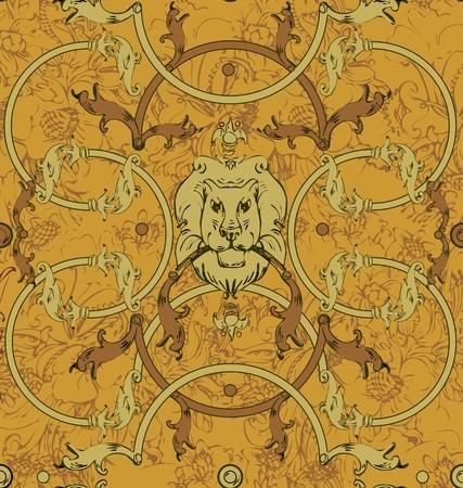 Decorative lattice with a lion in classic style Banco de Imagens