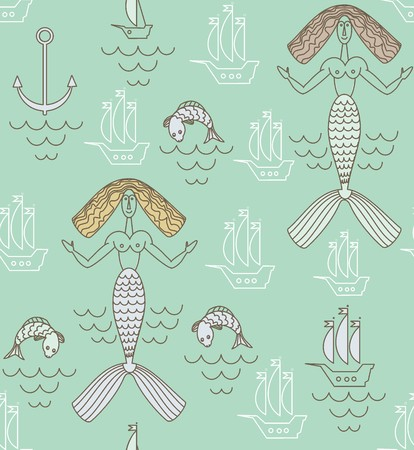 Funny marine mermaid with beige hair, boats and fish