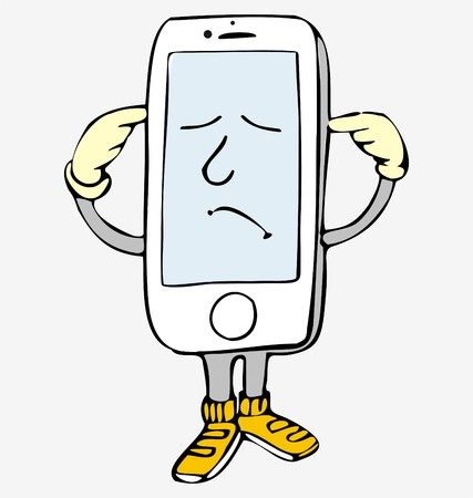 Phone, funny little man from a smart phone with white body and yellow shoes on his foot closing his ears with hands. With twisted mouth and closed eyes 일러스트