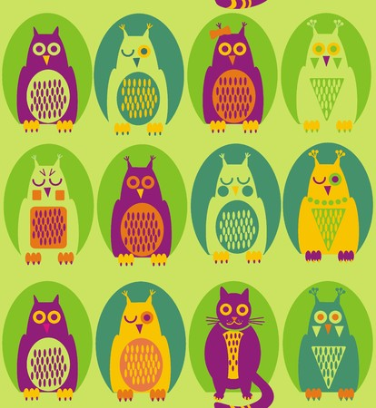 Funny owl. A seamless pattern in purple, yellow, green owl and a cat in green hollow on a light green background.