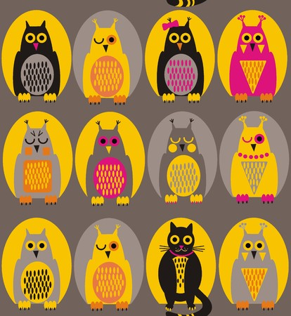 Funny owl. A seamless pattern in purple, yellow, black, gray owl and a cat in yellow and gray hollow on a gray background.
