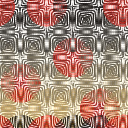 Intersecting circular spiral - beige, gray, red a seamless pattern on a white background.
