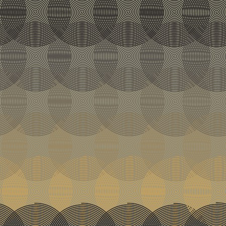 Intersecting circular spiral - beige, gray a seamless pattern on a gray background.