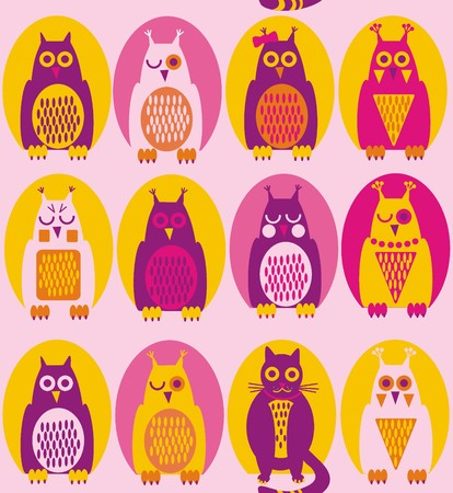 Funny owl. A seamless pattern in purple, yellow, violet owl and a cat in yellow, pink and purple hollow on a light pink background.