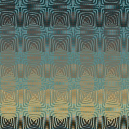 Intersecting circular spiral - blue, beige, gray a seamless pattern on a blue background. Ilustração