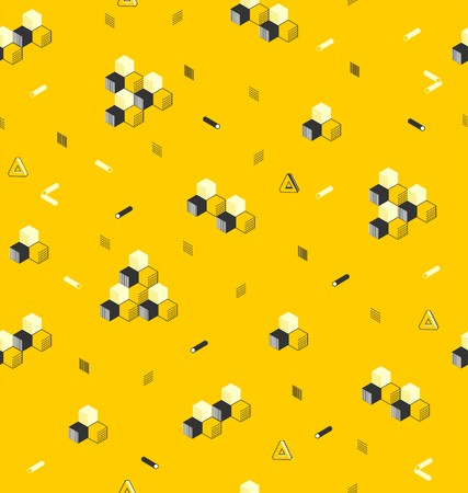 Stylish geometric ornament from cubic and hexagonal cylinders, in yellow and black colors a seamless pattern on a yellow background. Ilustração