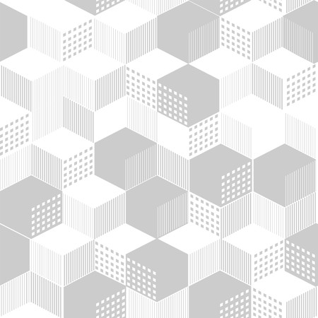 Stylish geometric ornament from cubic from lines and color filling, in gray color a seamless pattern on a white background.
