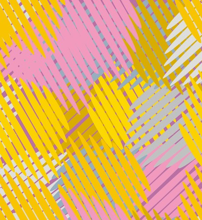 Intersecting straight line segments in yellow, pink, gray and white are a seamless pattern on a purple background.