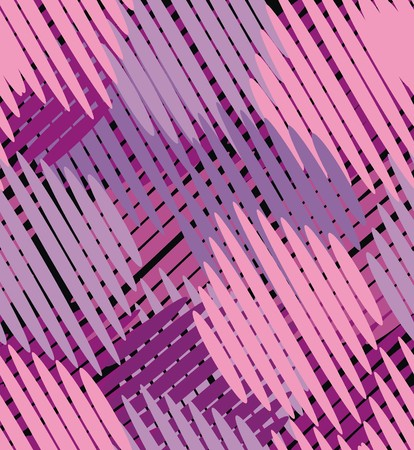Intersecting straight line segments in purple, pink and violet are a seamless pattern on a purple background.