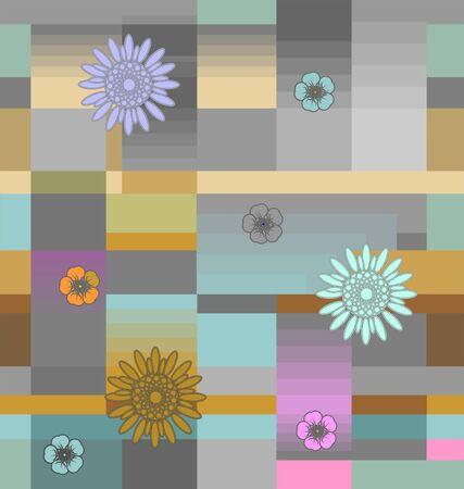 Flowers with squares 版權商用圖片 - 134615073