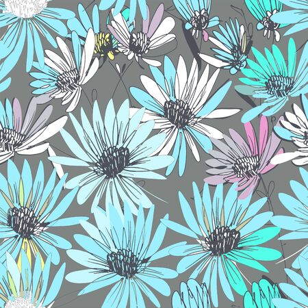 Flowers Echinacea freehand drawing 向量圖像