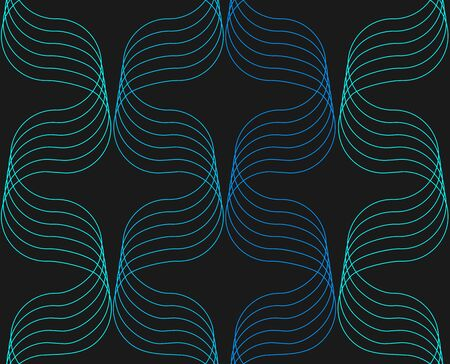 Abstract ornaments of sine line with a volume effect in light blue colors colors seamless pattern on black background.
