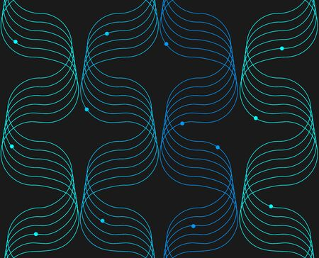 Abstract ornaments of sine line with a circles in light blue colors colors seamless pattern on black background. Illustration