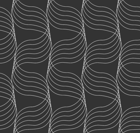 Abstract ornament of sine line with a volume effect in light gray color seamless pattern on gray background.