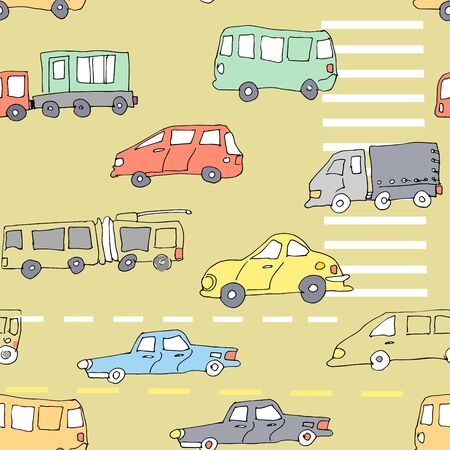 Hand-drawn cars on road with markings in yellow, red, blue, beige, green, black, white and grey colors seamless pattern on beige background.