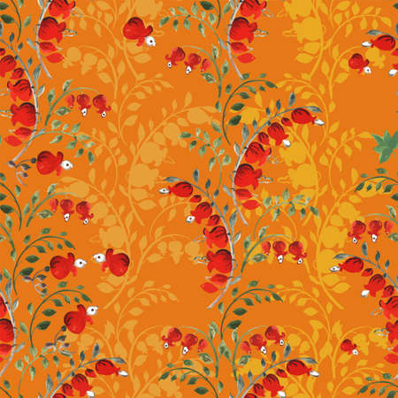 Dicentra - Broken heart hand-drawn flower in green, orange and gray a seamless pattern on a gren-gray background.