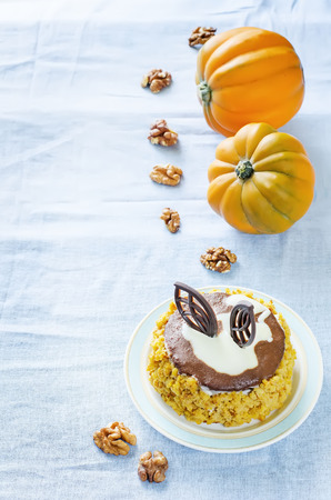 pumpkin cheesecake with chocolate and walnuts on a light blue background. tinting. selective focus on the middle of the cake photo
