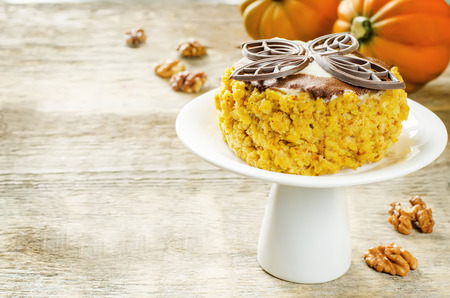 tinting: pumpkin cheesecake with chocolate and walnuts on a wood background. tinting. selective focus