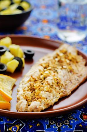 tinting: mackerel with garlic and lemon marinated. Moroccan dish. tinting. selective focus