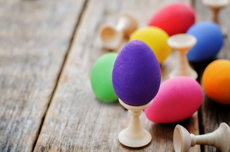 tinting: Easter background with colorful eggs with stands. tinting. selective focus