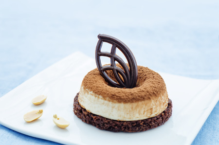 chocolate cake with peanut mousse on a blue background. tinting. selective focus