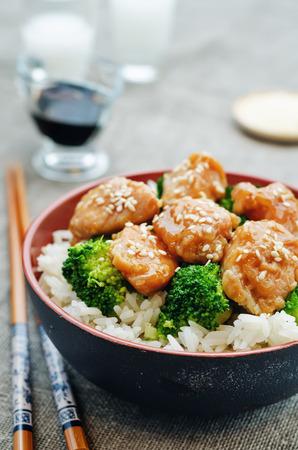 stir fry: teriyaki chicken and broccoli stir fry with rice Stock Photo