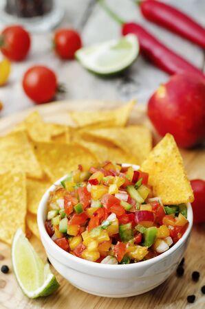 chips and salsa: peach salsa