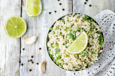 cilantro: cilantro lime garlic brown rice. the toning. selective focus