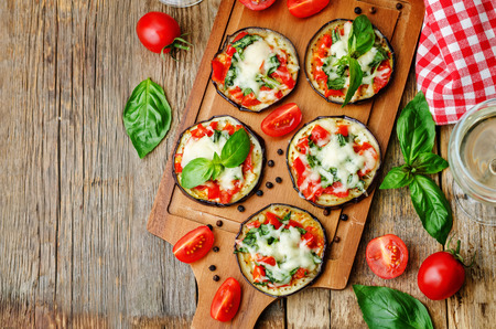 pizza eggplant with tomatoes and Basil. the toning. selective focus Фото со стока - 42209401