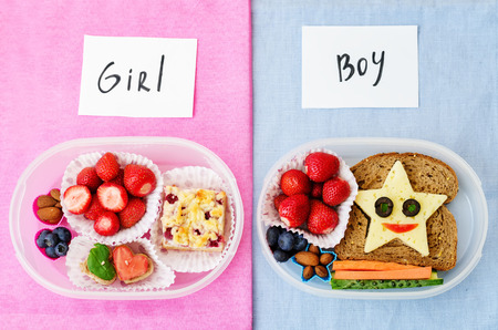 human meat: school lunch boxes for girl and boy with food in the form of funny faces
