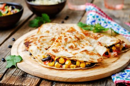 maiz: black beans tomato corn quesadilla. the toning. selective focus