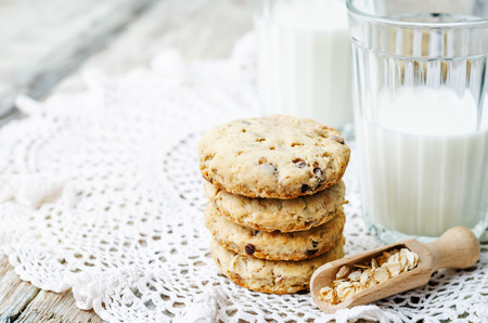 oatmeal cookie: oatmeal cookies with sunflower seeds and chocolate drops. the toning. selective focus