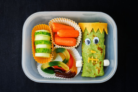 lunch: lunch box for children in the form of monsters for Halloween. the toning. selective focus