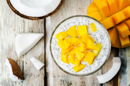 coconut mango Chia seed pudding. the toning. selective focus 스톡 콘텐츠