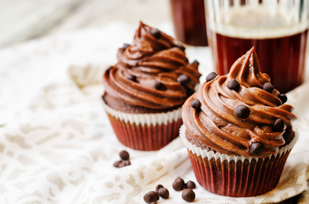 chocolate treats: chocolate cupcakes with chocolate frosting and chocolate chips