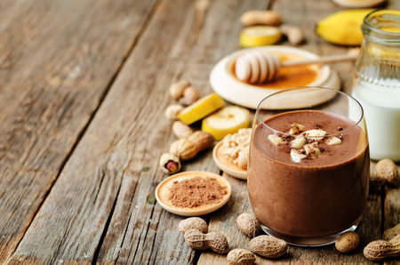 chocolate treats: banana chocolate peanut butter smoothie