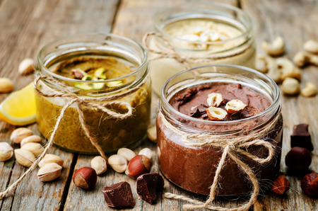 mixed nuts: list toasted nut butters, pistachio, hazelnut and cashew