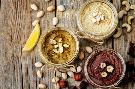 list toasted nut butters, pistachio, hazelnut and cashew