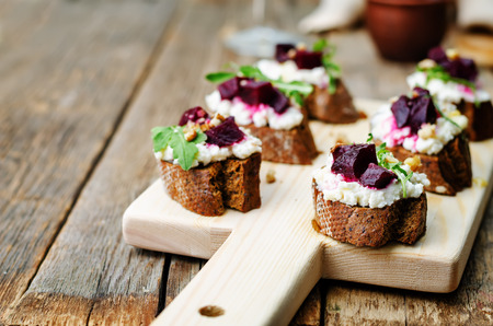 goat cheese: beet goat cheese arugula walnut honey crostini