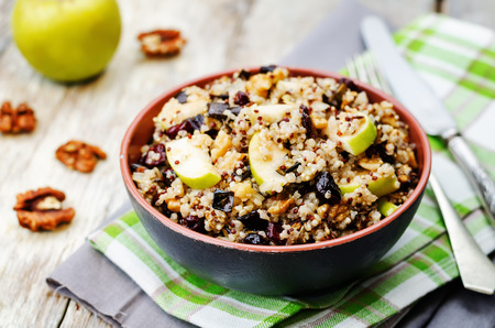 Eggplant quinoa apples dried cranberry salad.