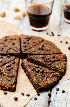 chocolate chips: Coconut banana chocolate chips chocolate scones. Stock Photo