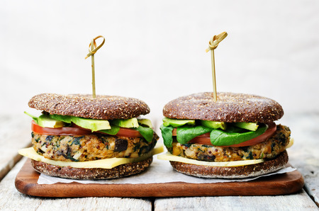 vegan quinoa eggplant spinach chickpeas rye Burger. Stock Photo - 47945773
