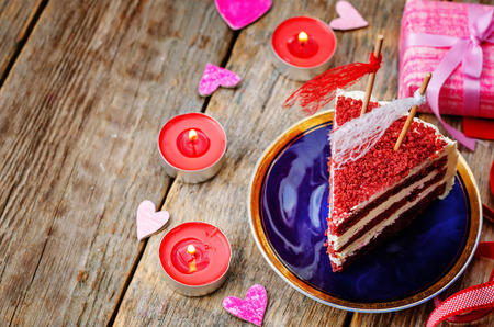 calorie rich food: Red velvet cake for Valentines day.