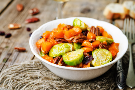 roasted brussels sprouts honey pumpkin pecan salad. toning. selective Focus Stock Photo