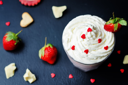 white sugar: Strawberry hot white chocolate with whipped cream and strawberries. toning. selective Focus